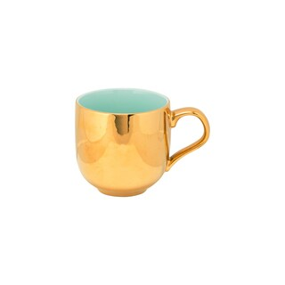 10 Strawberry Street Turquoise and Goldtone Porcelain 2-tone Mugs (Pack of 6)