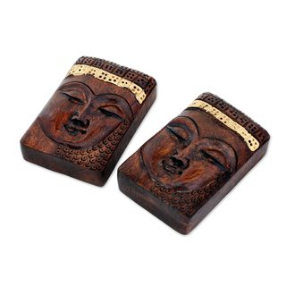 Pair of Wood Paperweights, Buddhist Calm (India)