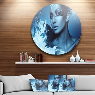 Designart 'Woman with Snow Splash' Art Portrait Disc Metal Artwork