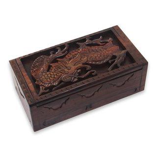 Wood Decorative Box, 'Fierce Dragon' (Indonesia)