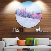 Designart 'Winter Sunrise in Mountains' Landscape Photo Disc Metal Wall Art