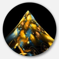 Designart 'Fractal Golden Blue Structure' Abstract Art Round Metal Wall Art