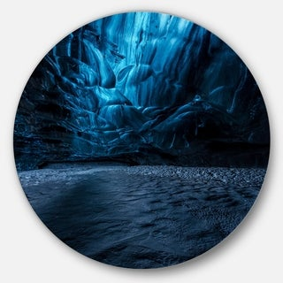 Designart 'Beautiful Ice Cave in Iceland' Landscape Photo Disc Metal Wall Art