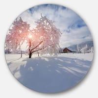 Designart 'Winter in Carpathian Village' Landscape Photo Disc Metal Artwork