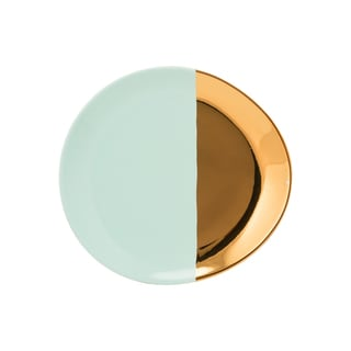 10 Strawberry Street 2 Tone Oval Salad Plate - Turquoise & Gold - Set of 6