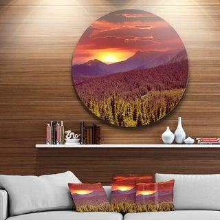 Designart 'Fantastic Sunrise in Mountains' Landscape Photo Circle Wall Art