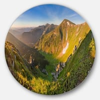 Designart 'Karpaty Highrise Mountains' Landscape Photo Round Metal Wall Art