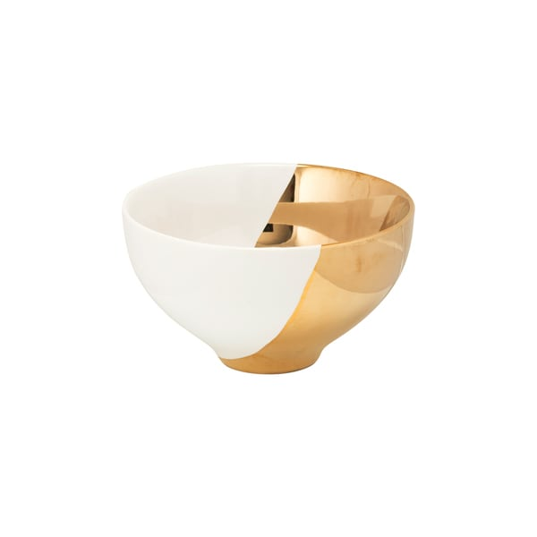 10 Strawberry Street White and Gold Two-Tone Cereal Bowl (Set of 4)