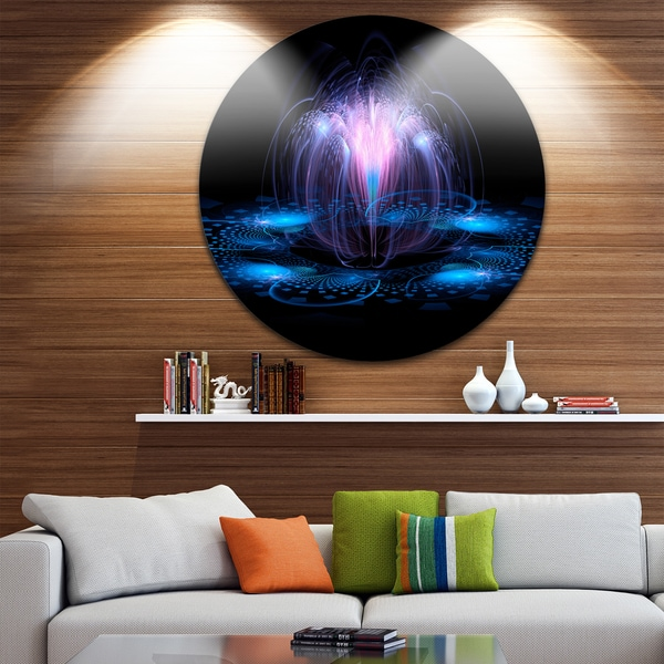 Designart 'Fractal Blue Flowing Flower' Floral Art Disc Metal Wall Art