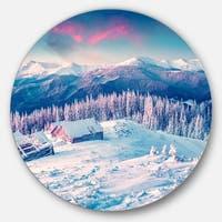 Designart 'Winter Morning in Carpathian' Landscape Photo Round Metal Wall Art