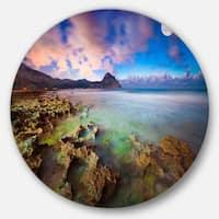 Designart 'Monte Cofano Reserve' Landscape Photography Large Disc Metal Wall art