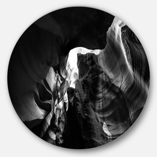Designart 'Black and White Antelope Canyon' Landscape Photo Large Disc Metal Wall art