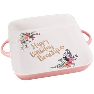 10 Strawberry Street Pink Happy Birthday Beautiful Baking Dish