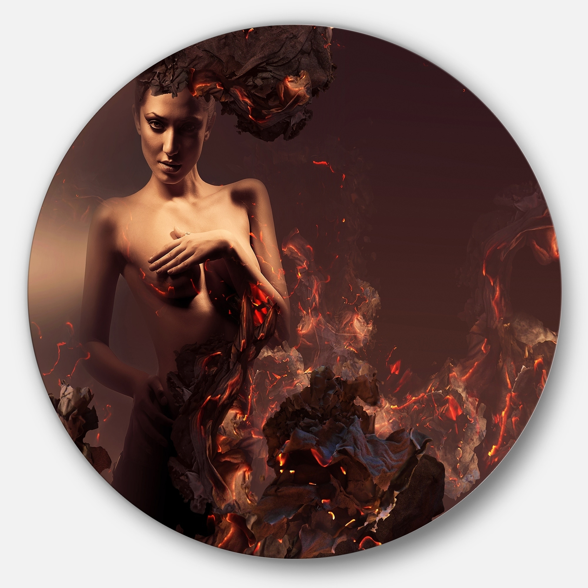 Designart 'Nude Woman in Burning Ashes' Portrait Art Larg...