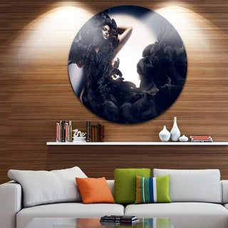 Designart 'Fashion Woman in Black Smoke' Portrait Art Round Wall Art