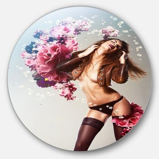 Designart 'Brown Sexy Woman with Flowers' Portrait Art Disc Metal Wall Art