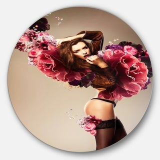 Designart 'Nude Woman with Pink Flowers' Portrait Art Disc Metal Artwork