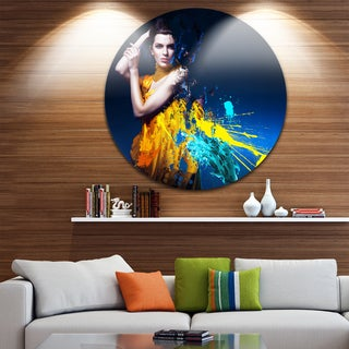 Designart 'Sexy Woman in Long Yellow Robes' Portrait Art Circle Wall Art