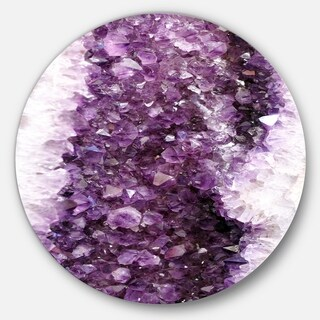 Designart 'Purple Precious Stones' Abstract Digital Art Round Wall Art