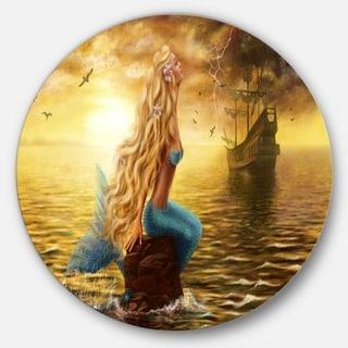 Designart 'Sea Mermaid with Ghost Ship' Seascape Digital Art Disc Metal Artwork