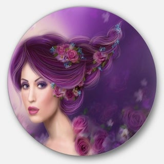 Designart 'Woman with Purple Hair' Portrait Digital Art Round Metal Wall Art