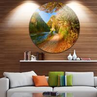 Designart ' Dunajec River Gorge in Autumn' Landscape Photo Circle Wall Art