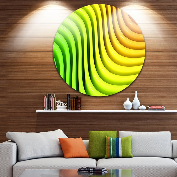 Designart 'Rainbow Colors Wave' Abstract 3D Digital Art Disc Metal Wall Art