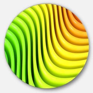 Designart 'Rainbow Colors Wave' Abstract 3D Digital Art Disc Metal Wall Art