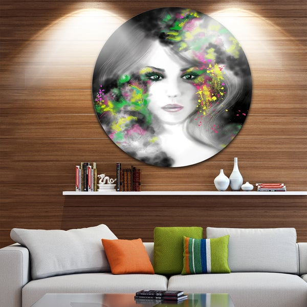 Designart 'Fantasy Portrait Woman' Portrait Digital Art Disc Metal Artwork