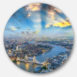 Designart 'Tower Bridge Area and City Light' Cityscape Photo Disc Metal Wall Art