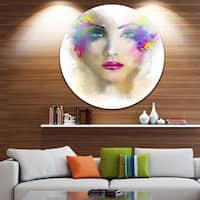 Designart 'Fantast Woman with Blue Flowers' Portrait Digital Art Circle Wall Art
