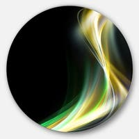 Designart 'Green Yellow Light Art' Abstract Digital Art Round Metal Wall Art