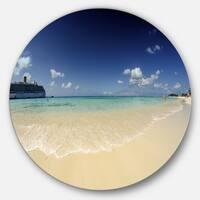 Designart 'Crystal Waters of Grand Cayman' Seashore Photo Round Wall Art