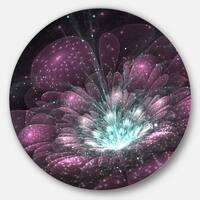 Designart 'Purple Fractal Flower' Floral Digital Art Disc Metal Artwork
