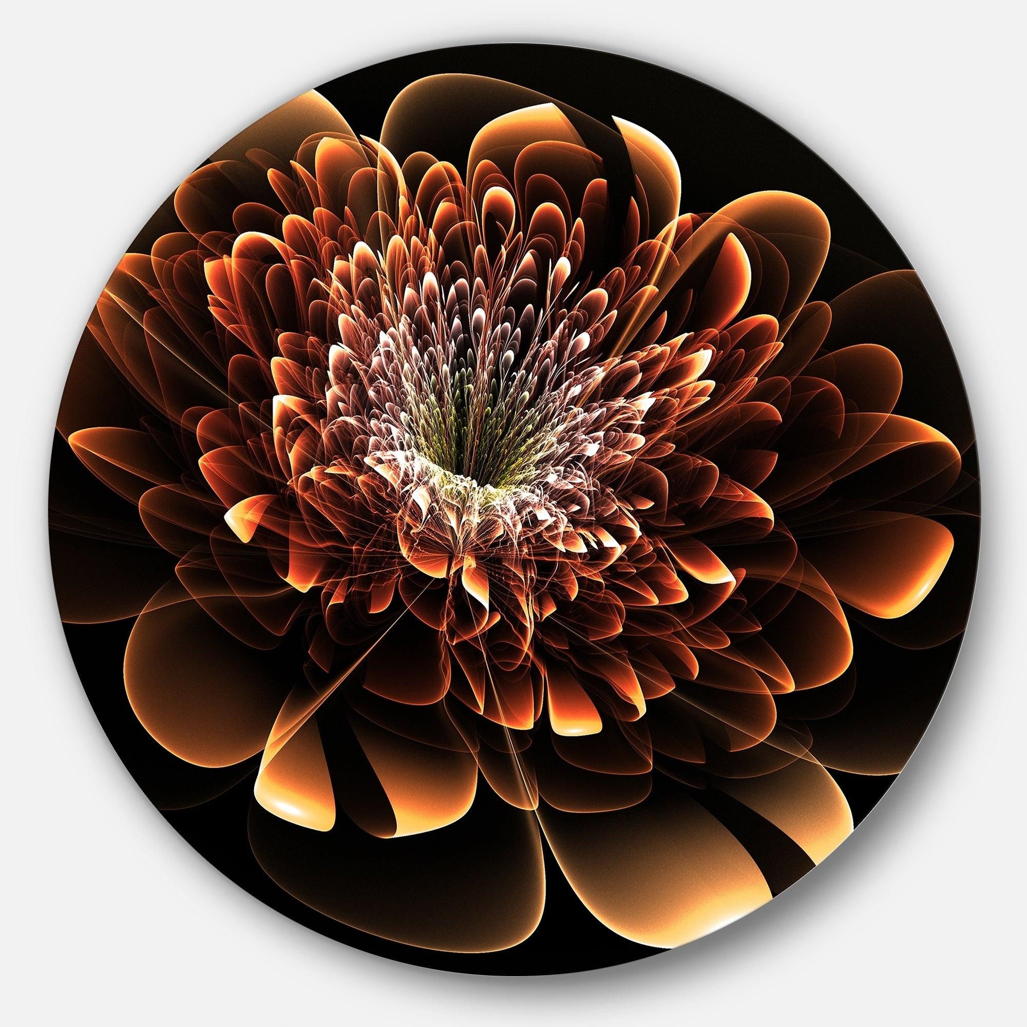 Designart Brown Fractal Flower Floral Digital Art Circle Wall Art Overstock 14254435