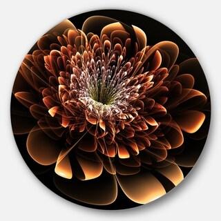 Designart 'Brown Fractal Flower' Floral Digital Art Circle Wall Art (4 options available)
