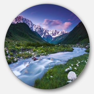 Link to Designart 'River in Caucasus Mountains' Landscape Photo Round Metal Wall Art Similar Items in Metal Art