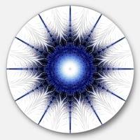 Designart 'Blue Digital Flower Art' Floral Digital Art Disc Metal Wall Art