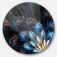 Designart 'Blue Flower with Golden Details' Floral Digital Art Disc Metal Artwork
