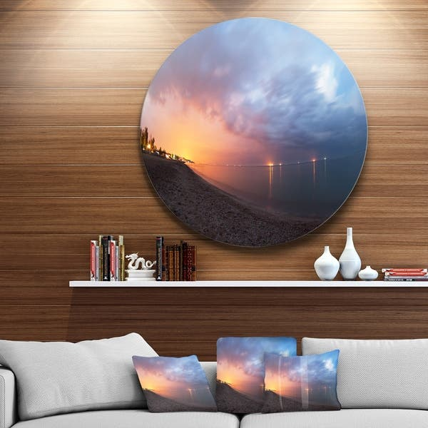 Designart Summer Night With Blue Sky Skyline Photography Circle Wall Art Overstock 14254471