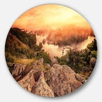 Designart 'Vintage Mountain Sunrise' Landscape Photo Disc Metal Wall Art