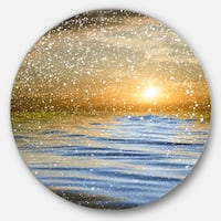 Designart 'Clouds with Reflection in Water' Seashore Photo Large Disc Metal Wall art