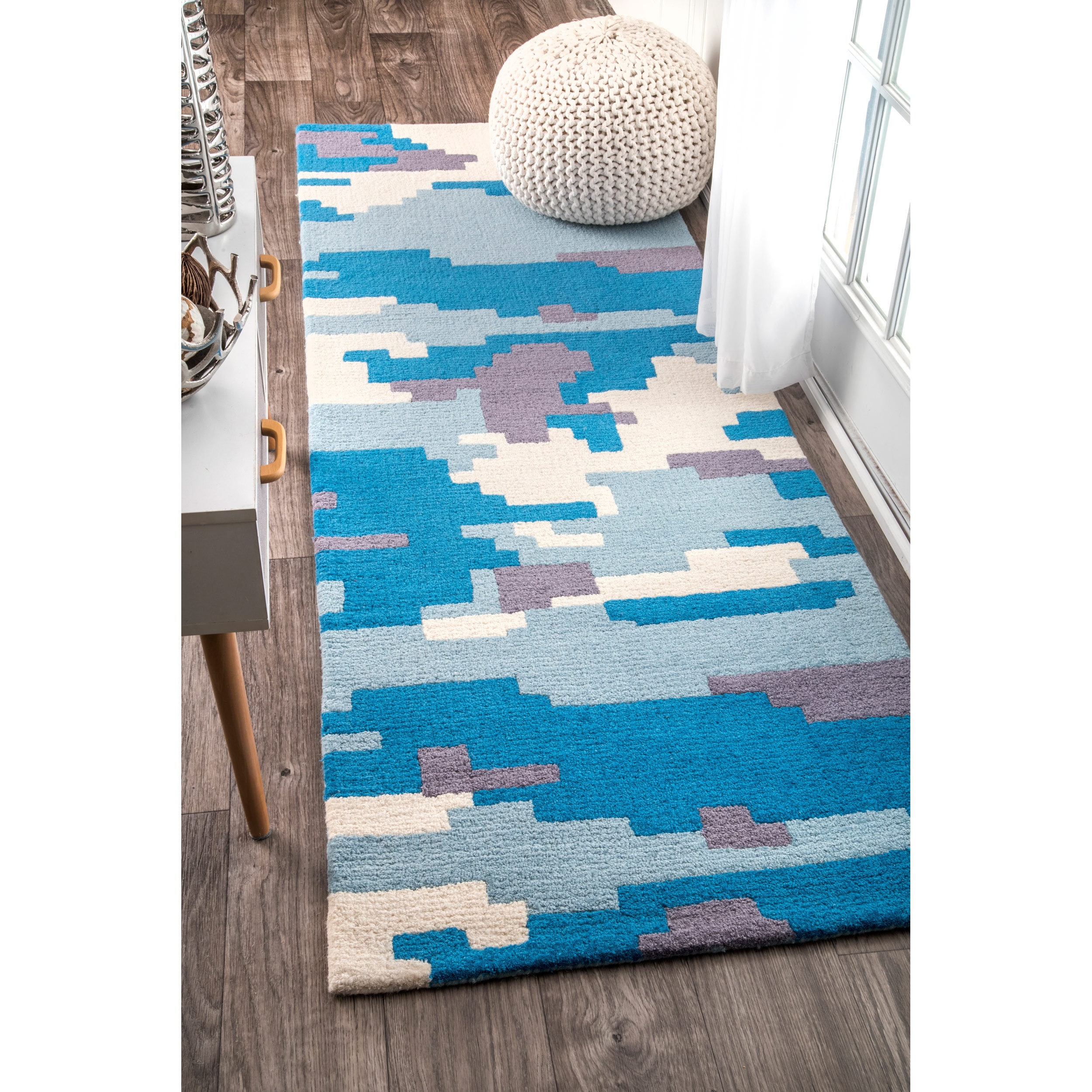 nuLOOM Handmade by Thomas Paul Color Block Blue Runner Ru...