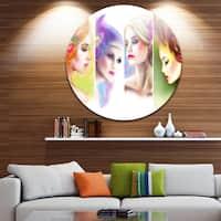Designart 'Colorful Women Face Collage' Portrait Digital Art Round Metal Wall Art