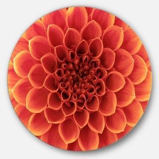 Designart 'Brown Flower with Dense Petals' Floral Photo Disc Metal Wall Art