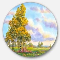 Designart 'Green Trees in Evening' Landscape Photography Round Metal Wall Art
