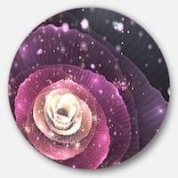 Designart 'Pink Flower with Sparkles' Floral Digital Art Round Wall Art