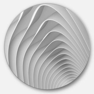 Designart 'Fractal Bulgy White 3D Waves' Abstract Art Round Metal Wall Art