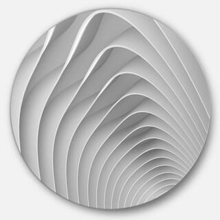 Designart 'Fractal Bulgy White 3D Waves' Abstract Art Circle Metal Wall Art