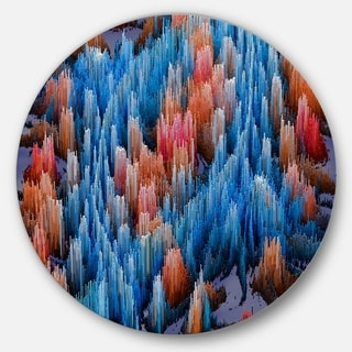 Designart 'Macro Render Structure Blue Red' Art Round Wall Art
